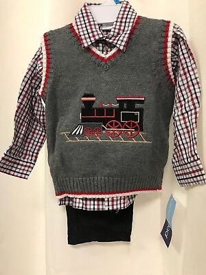 Sweater Vest Set NWT $58 GOOD LAD® Baby Boys/' 24M Holiday Train 3 Pc
