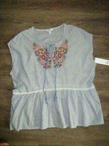 SONOMA Womens L Sleeveless Peplum Blue Stripe Peasant Top w Embroidery NWT