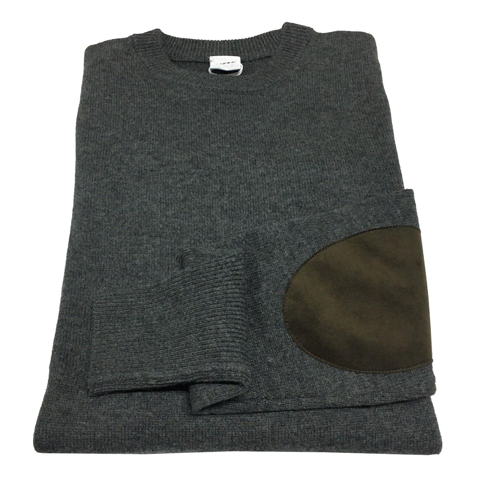 ASPESI maglia uomo grigio mélange con toppe in alcantara moro M174 3965 100%lana
