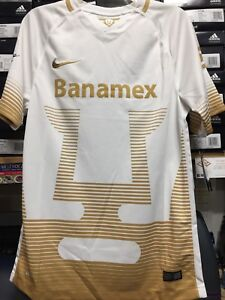 low priced c45cf 6c94b Details about Nike Pumas Unam Home Jersey White Gold 2015 Size Small Only