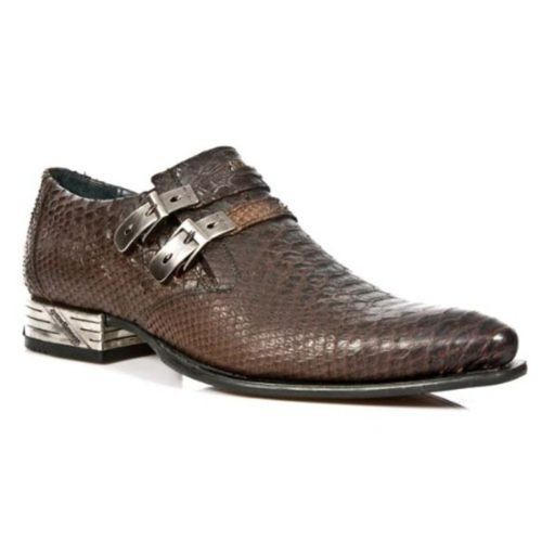 NEW ROCK 2246S32 Men's Brown Cowboy Snake Skin Leather Buckle West Steel shoes
