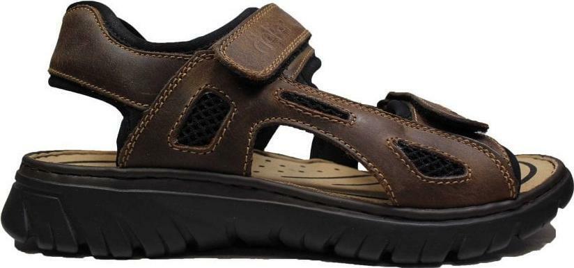 Rieker 26761-26 Dark Brown Mens Rip Tape Sandals