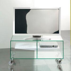 Carrello Porta Tv Vetro Con Ruote.Dettagli Su Carrello Porta Tv Lcd In Vetro Con Ruote Ebox Ripiano In Acciaio Design Moderno
