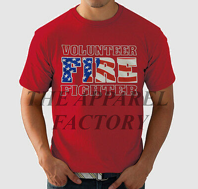 New Men's VOLUNTEER FIRE FIGHTER Red T Shirt All Sizes firefighter EMS USA hero