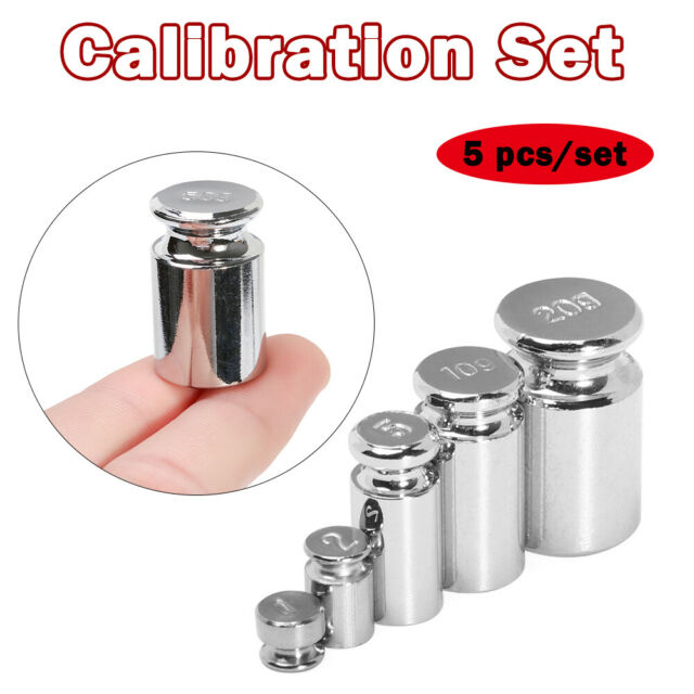 5 PCS 1G 2G 5G 10G 20G GRAMS PRECISION CHROME CALIBRATION SCALE WEIGHT SET KIT