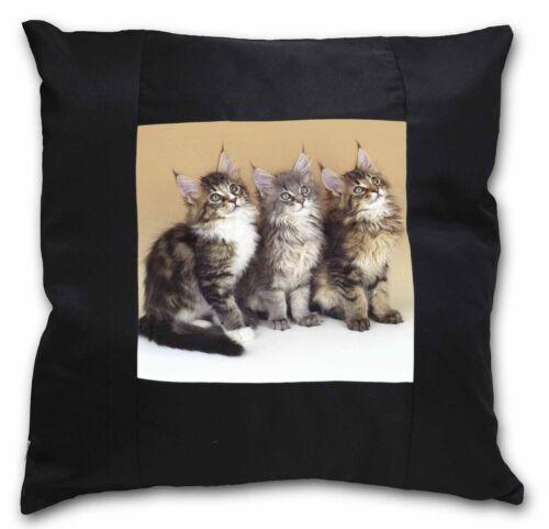 Cute Maine Coon Kittens Black Border Satin Feel Cushion Cover With Pi AC-28-CSB