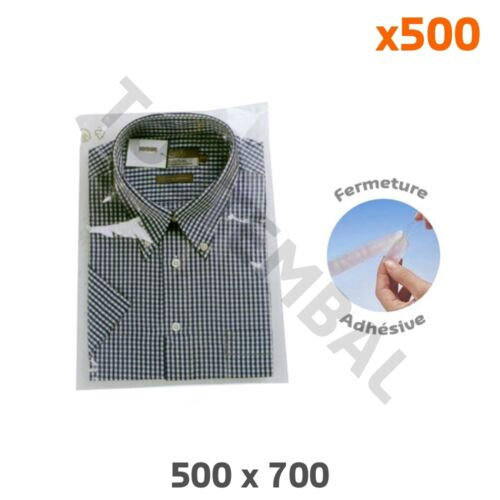 par 500 x500 Grand sachet plastique adhésif 40µ 500x700mm