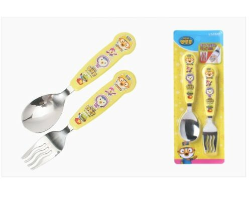 Little Penguin Pororo Stainless Spoon Fork Set Kids Cutlery Utensils Easy grip