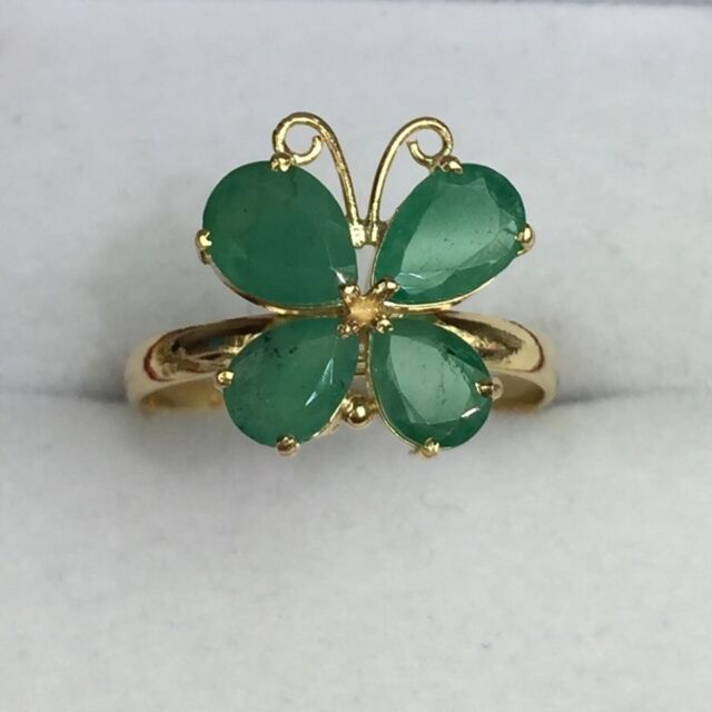 14k Solid Yellow Gold Cute Butter Fly Ring Natural Pear Emerald 2.0TCW, Sz 8