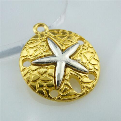 13658 Alliage 15PCS Sable Étoile de mer Pentagramme étoile de mer plage Sand Dollar pendentif