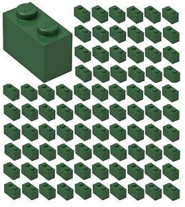 ID 3004 BULK Parts City Building Grass Town ☀️100x NEW LEGO 1x2 GREEN Bricks