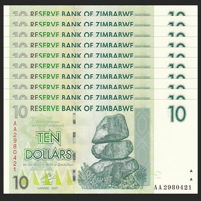 Circulated 2007 P-67 Replacement ZA Zimbabwe 10 Dollars