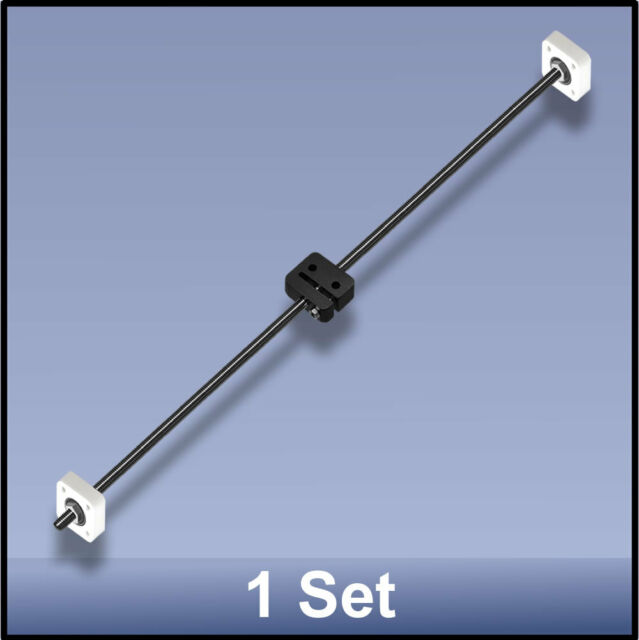 CNC STAINLESS STEEL M8 595 MM LEAD SCREW/DELRIN NUT/BEARING ASSEMBLY  - 1 set
