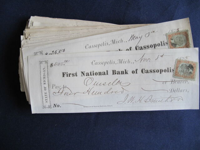 1875-7 Cassopolis Michigan First National Bank Receipt w. Stamp Lot of 95