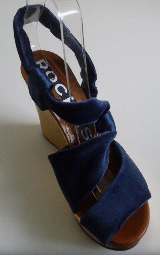 ROCHAS Designer France bluee gold Pumps Heels Size UK 4 EU 37 US 6.5 RP
