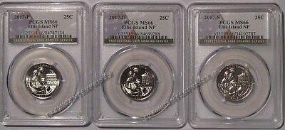 2017 P D S Ellis Island NP Quarter 3 Coin Set 25c PCGS MS66 USA Flag