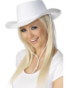 White Cowboy Hat Mens Ladies Wild West Cowboys Fancy Dress Accessory ... 08ef89c9a3c
