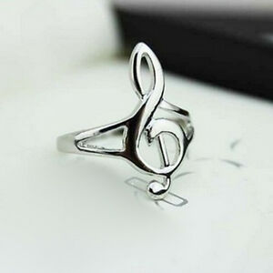 Fashion Silver Color Musical Music Note Ring Treble Clef Ring Jewelry Gift SWUK