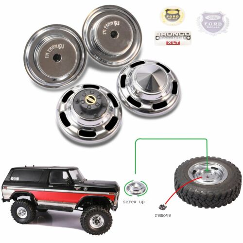 Metal Front Rear Wheel Hub Cover Nuts Set For Traxxas Trx-4 Ford BRONCO RC Cars
