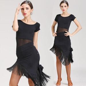 d94cb9afc Details about Ballroom Latin Salsa Rumba Tassels Practice Dress Rhythm  Dance Performance Dress