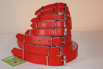 REAL LEATHER DOG COLLAR RED felt lining, small medium large