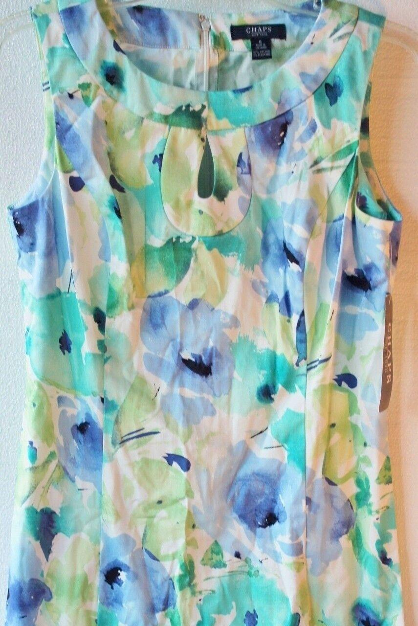 Chaps by Ralph Lauren Sz 8 Keyhole Floral Sateen Watercolor Sheath Dress