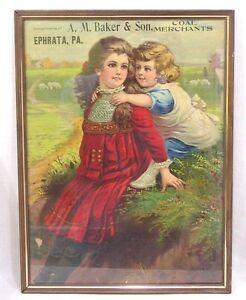 Vintage-Framed-Advertisement-Ephrata-PA-Coal-Merchant-1900-Brother-Sister-Sheep