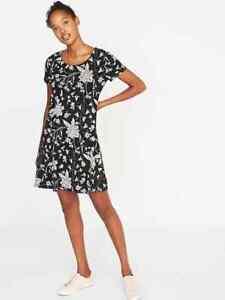 d79b39ed7cb50 Old Navy Women s Black Floral Jersey Knit Swing Dress Size S