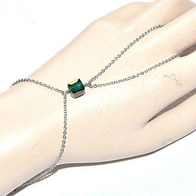 Chaîne De Main Bracelet Bague Acier Inoxydable Cube Cristal Vert Bijou Styling Aggiornato