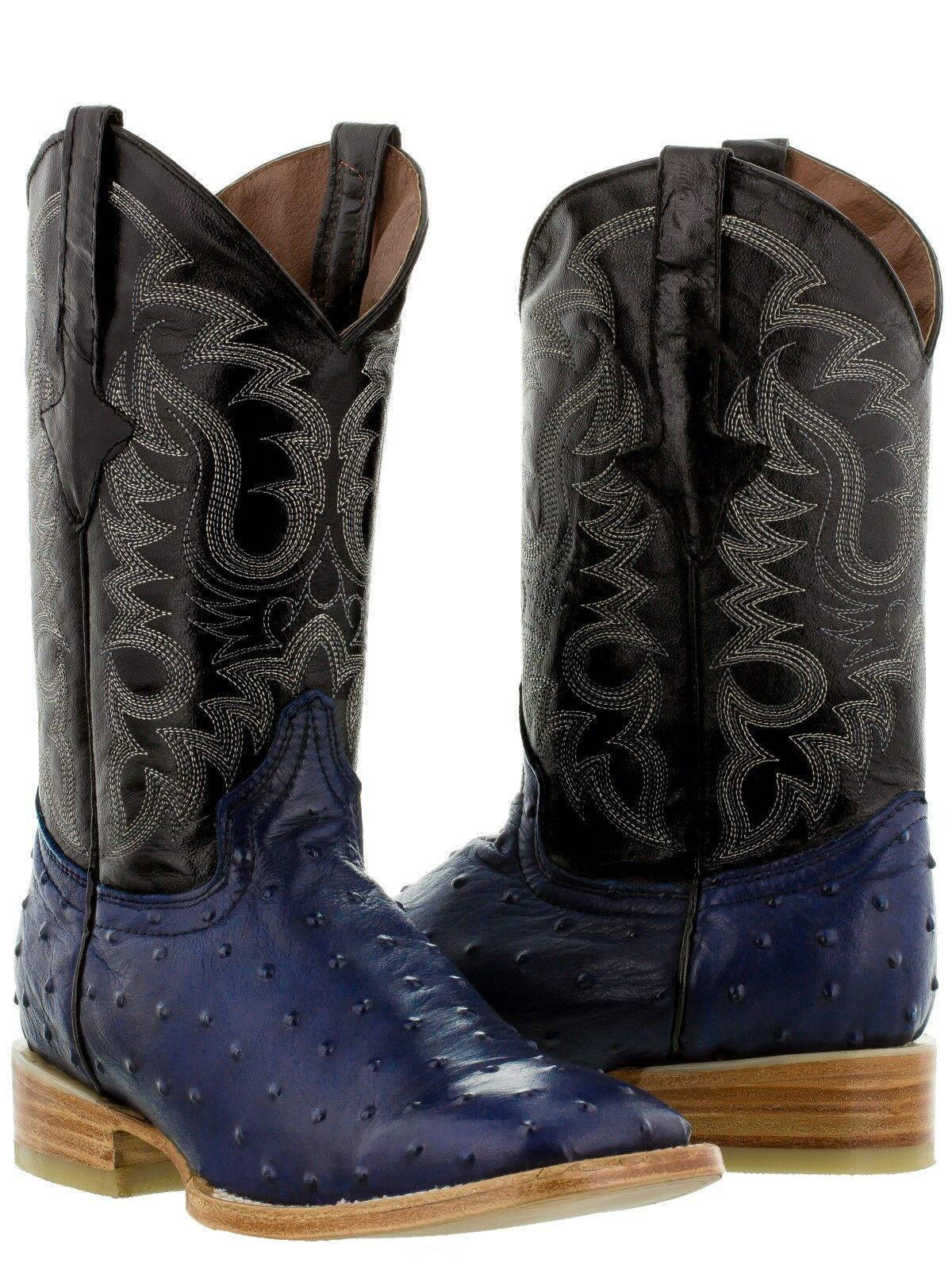 Men's Cowboy Boots Ostrich Quill bluee Leather Western Wear Rodeo Square Toe New