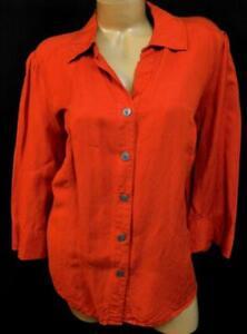 East-5th-orange-3-4-sleeve-women-039-s-plus-size-button-down-linen-blend-top-1X
