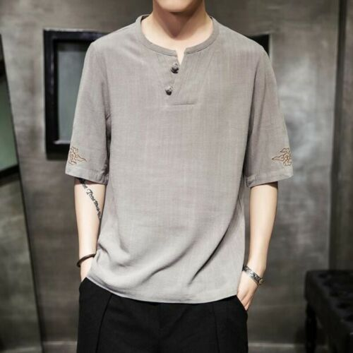 Retro Men T-shirts Summer Chinese Cotton Linen Loose Solid Youth Casual Blouses