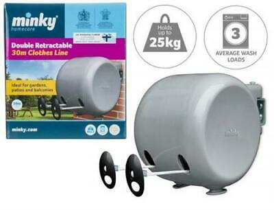 30m GENUINE MINKY RETRACTABLE CLOTHES OUTDOOR REEL WASHING LINE DOUBLE FREE POST