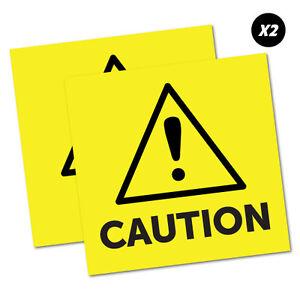 2-x-Caution-Yellow-Sticker-Decal-Safety-Sign-Car-Vinyl-5456K