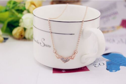 "Super Adorable /""Heart/"" Rose Gold GP Cubic Zirconia Pendant Necklace"