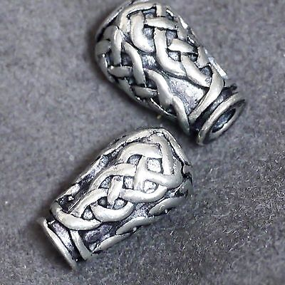 2od.4 Stück Zinn Perlen Handgegossen Künstlerperle Tropfen Flechtwerk Loch 2,5mm