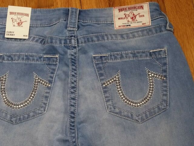 3784e55f6ba32 True Religion Curvy Skinny Cropped Capri Jeans Size 28 Low Rise Light Wash  NWT