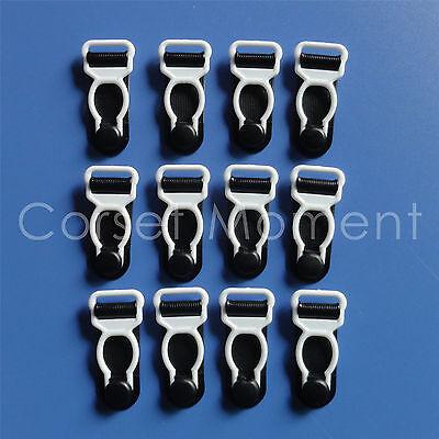White & Black Corset Garter Belt Grips Suspender Tips/Hosiery Clips 12mm Wide