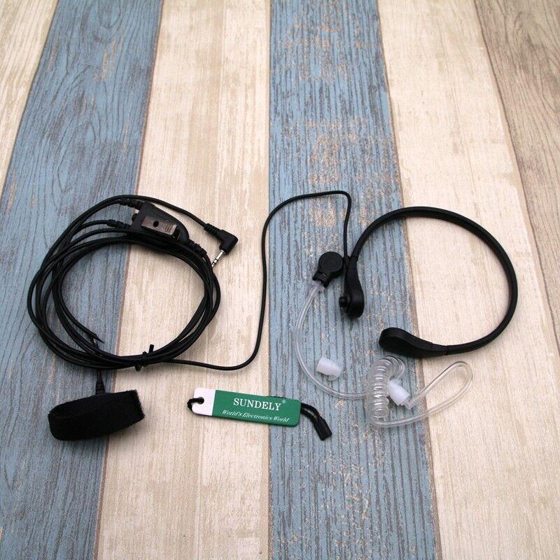Throat Mic Headset/Earpiece Finger PTT For Radio Walkie Motorola Talkie
