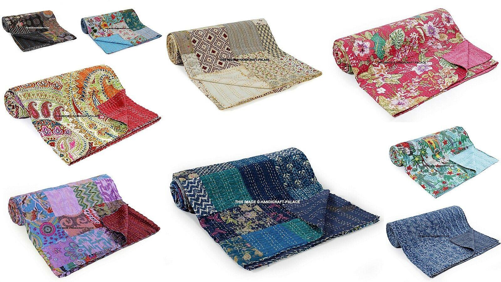 10 PC Lot Indian Kantha Quilt Bedspread Cotton Blanket Queen Größe Bedding Throw
