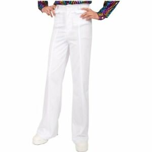 Adult Mens 70s Disco Leisure White Polyester Pants Approx 44