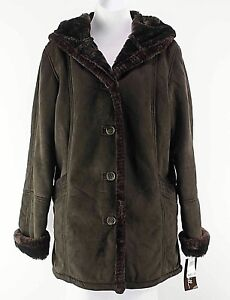 Big-Chill-NEW-160-Sz-S-Brown-Poly-Faux-Fur-Lined-Hooded-Coat-E284