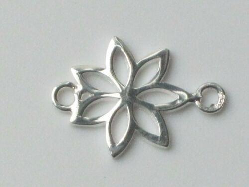 Pack of 5 925 Sterling Silver Open Flower Outline Connector Charm Spacer