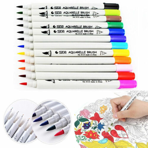 Dual Tip Brush Twin Marker Pens Watercolor for Adult Coloring Drawing Kids Gift