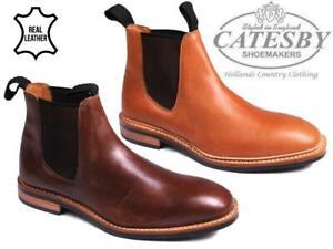 Homme-en-Cuir-Chelsea-Bottes-Catesby-Cheville-Double-Gousset-Casual-concessionnaire-travail