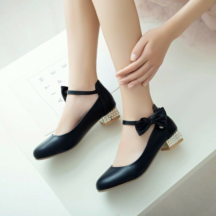 Womens Spring Round Toe Chunky Heel shoes Princess Bowknot Trendy Leather Mary