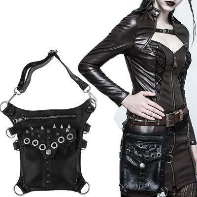 Biker//Skull bag//Gothic Waist bag-shoulderbag handbag BLACK