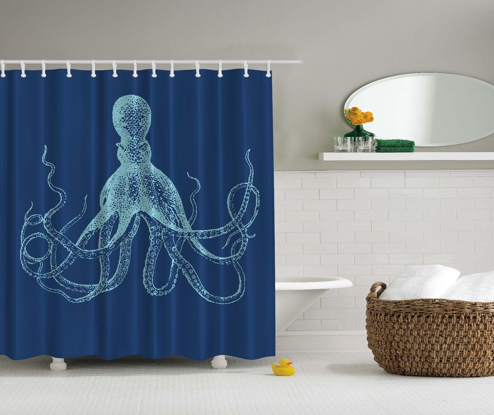 Blue Octopus Nautical Sea Ocean Beach Fabric Shower Curtain Digital Art Bathroom