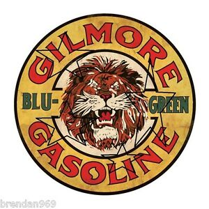 VINTAGE-GILMORE-GASOLINE-PETROL-DECAL-STICKER-LABEL-9-INCH-DIA-230-MM-HOT-ROD
