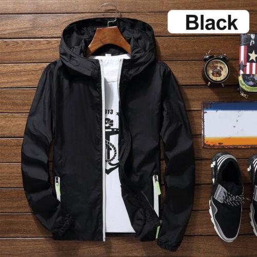 Men Hooded Bomber Jacket//Coat Windbreaker Outwear Thin Casual S-4XL Spring//Fall